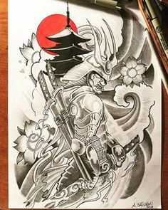 Search inspiration for a Japanese tattoo. Geisha Tattoos, Irezumi Tattoos, Kunst Tattoos, Tattoo Drawings, Tattoo Ink, Demon Tattoo, Norse Tattoo, Tattoo Symbols, Japanese Mask Tattoo