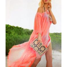 $12.60 Women's Stylish Loose Candy Color Furcal Beach Cover-UP