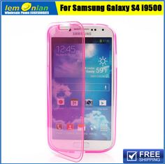 6 Colors Folio Jelly TPU Flip Full Body Cover Case for Samsung Galaxy S 4 IV i9500 i9502 i9505 Front and Back Case Free Shipping