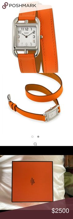 brand new in box authentic hermes women's watch gorgeous and timeless hermes cape cod style ladies watch with orange leather strap; brand new in box Hermes Accessories Watches
