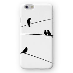 Black Birds on Cable iPhone Case by Madotta | Available for iPhones and some Samsung Galaxy S devices. Exclusive Design. Made with love in the UK. International shipping available. Designer iPhone 6s Cases and Covers #madotta More on https://madotta.com/collections/all/?utm_term=caption+link&utm_medium=Social&utm_source=Pinterest&utm_campaign=IG+to+Pinterest+Auto