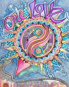 One Love, Singleton Hippie Art Original