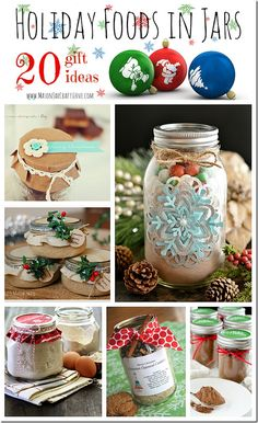 Holiday Gifts: Food in Jars | Mason Jar Crafts Love. Not just Christmas many other Mason Jar idea