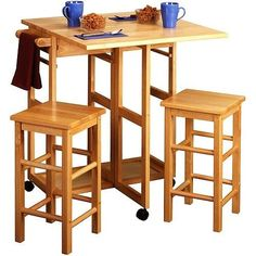 Counter Height Table Set 3 Pc Wood Dining Pub Stools Kitchen Island Cart Compact #CounterHeightTableSet #ContemporaryRusticCountryVintage