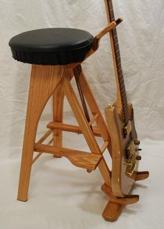 Handcrafted unique wooden guitar stands by South Mountain Woodworks Guitar Storage, Guitar Display, Guitar Rack, Guitar Hanger, Guitar Hooks, Woodworking Projects Diy, Woodworking Furniture, Woodworking Plans, Wood Projects