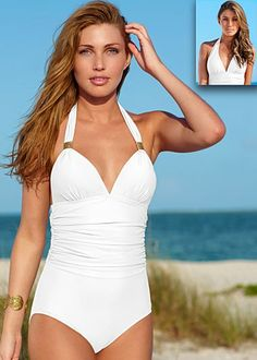 Slimming sugar white halter one piece swimsuit