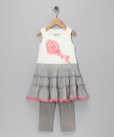 Take a look at this Gray Ruffle Dress & Leggings - Infant & Toddler by Kenneth Cole on #zulily today!