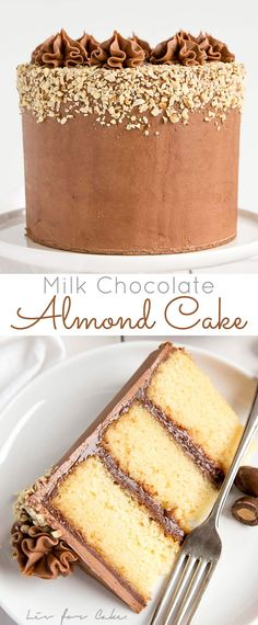Milk Chocolate Almond Cake! Fluffy almond cake layers with a rich milk chocolate ganache frosting.