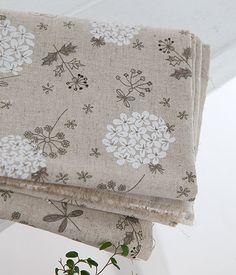White Hydrangea on Linen blended WIDE 140cm, U2513. $8.60, via Etsy.