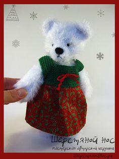 "Мишка новогодняя, Коллекция ""Модницы"" | ШерстянойНос.рф #teddybears #handmade #toys #teddybears #presents #knitting #newyear"