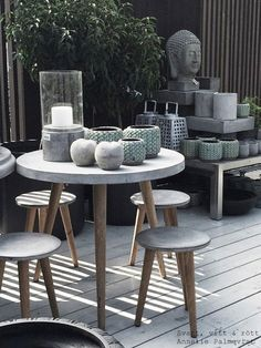 Concrete and wood patio furniture.