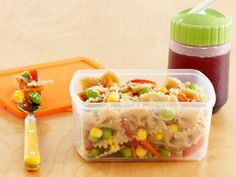 Rainbows and Butterflies Pasta Salad with corn, edamame, red pepper, carrots.
