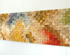 Arte de pared de madera grande, 2017 color tendencias, arte geométrico