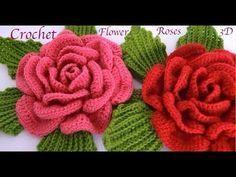 Como hacer flores Rosas gigantes 3D con hojas a Crochet paso a paso tejido tallermanualperu - YouTube