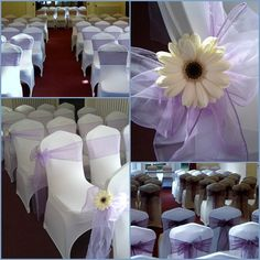 purple wedding chair cover sashes-- like the tulle with sunflower centers
