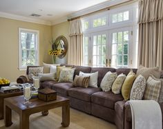 love the brown, cream, & yellow! Dark Brown Couch Design, Pictures, Remodel, Decor and Ideas - page 2