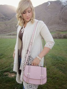 Style by Suzy: Blushing Love this blush bag and Cardigan! #blushing #lucymint #fashion