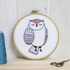 Contemporary embroidery kit - owl