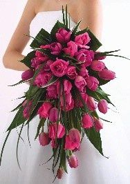This bouquet is covering too much of her wedding dress. Why spend big bucks on a wedding dress then hide it with an over-sized bouquet? Keep the bouquet a reasonable size do not let the florist bully you! Bouquet Bride, Red Bouquet Wedding, Pink Bouquet, Boquet, Tulip Bridal Bouquet, White Tulip Bouquet, Bouquet Flowers, Bouquet En Cascade, Tulip Wedding