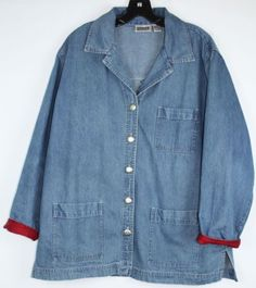 Chicos-Womens-Denim-Button-Front-Silk-Applique-Jacket-Chicos-Size-2