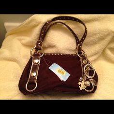 NWT Kathy bag Brown suede with gold on the side and a small jewelry chain . Kathy Van Zeeland Bags Satchels