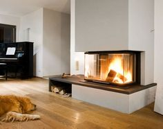 fireplace with three sides for viewing Fireplace Tv Wall, Basement Fireplace, Modern Fireplace, Fireplace Design, Attic Design, Interior Design, See Through Fireplace, Hallway Inspiration, Kitchen Dining Living