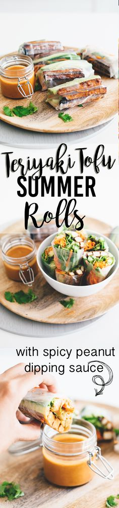 Vegan Teriyaki Tofu Summer Rolls - a healthy, light and low carb Asian inspired dish. Rice Paper Rolls with Teriyaki Baked Tofu, Fresh Veggies and a Spicy Peanut Dipping Sauce. Tofu Recipes, Asian Recipes, Vegetarian Recipes, Cooking Recipes, Healthy Recipes, Dishes Recipes, Vegan Snacks, Vegan Dinners, Healthy Snacks