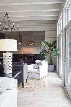 gray + white + light wood floors  + beautiful light Jen Langston Interiors