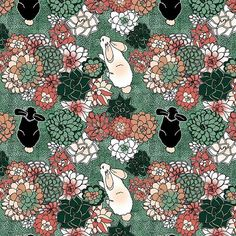 irishvikingdesigns - Rabbits in the Garden of Succulents for this week's @spoonflower design challenge. Vote for your favorites at https://www.spoonflower.com/contests/limited-color-palette-succulents #pascoa #print #pattern #flower #surfacedesign #art #surfacespatterns