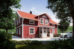 Mellangården Eksjöhus Gillar planlösningen med kök i mitten av huset. Perfekt med ett extra sovrum vid balkongen på övervåningen.