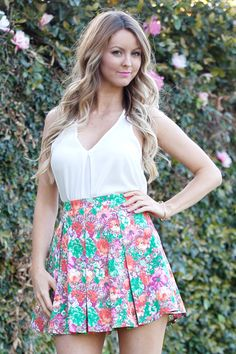 Lush Floral Pleated Skirt
