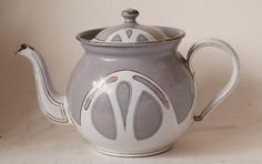 Antique Art Nouveau/Jugendstil Enamelware Tea Pot Bing Brothers Bingit c.1905