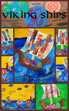 week 5, no time for a cardboard Viking ship? make one from paint and paper, these are cute