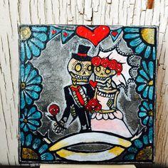 Tag von den Toten Braut Bräutigam personalisiert - ich Banner Skript wird für Sie 4x4inch Mini Leinwand board w Staffelei authentische mexikanische inspirierte Kunst