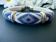 White and Blue Peyote Stitch Leather Bracelet by DebsBraceletPlace, $30.00