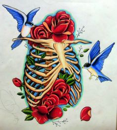 Rib cage and birds drawing by; Tony Nguyen
