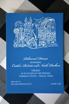 Dallas Texas and the famous Fairmont Hotel are the major elements to this Rehearsal Dinner invitation. Big D all the way. The bright blue with crisp white gives this invitation a fresh crisp look. Printed on heavy 80 pound card stock and available in any color combination in quantities as low as 20. We have 32 major US city skylines in addition to scores of unique and fun designs.
