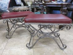"Great new faux leather/antique pewter finish benches  25"" x 16.5"" x 19"" height.  Just $275 each"