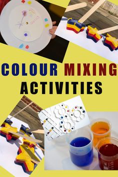 Colour mixing ideas for kids - includes a colour wheel, colour mixing with water and ice painting! #colourmixing #colourtheory #artforpreschoolers #primarycolours Preschool Science Activities, Preschool Age, Science Ideas, Activity Ideas, Preschool Activities, Colour Mixing Wheel, Ice Painting, Play Based Learning, Toddler Play