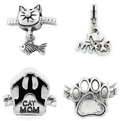 """Amazon.com: """" Set of 4 Beads- Love My Cat Collection """" Antique'd Silver Bead…"""