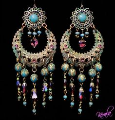 Green Patina Bohemian Gypsy Chandelier Earrings Handmade by kerala, $45.00