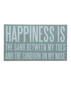 'Happiness is the Sand' Box Sign