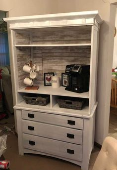 My very first DIY turned an old armoire into a coffee bar! My very first DIY turned an old armoire into a coffee bar! Coffee Bar Design, Coffee Bar Home, Home Coffee Stations, Coffee Bars, Coffee Coffee, Coffee Maker, Armoire Makeover, Furniture Makeover, Diy Furniture