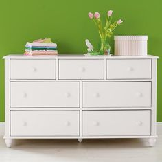 Nice size dresser that works as changing table but also as child grows older   The Land of Nod | Kids' Dressers: Kids 7-Drawer White Jenny Lind Dresser in Dressers
