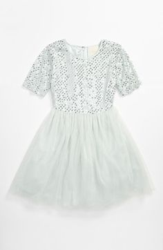 La Piccola Danza Kidswear Elbow Sleeve Beaded Dress (Big Girls) available at Nordstrom
