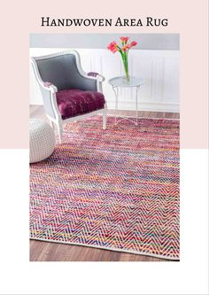 Handwoven Chevron Rochell Area Rug in magenta. #arearug #homedecor #affiliate