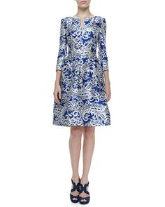 3/4-Sleeve Lace-Print Doupioni Dress by Oscar de la Renta at Neiman Marcus.