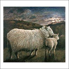 Ewe And Lamb By Moonlight – James Lynch James Lynch, Dry Brush Painting, Sheep Art, Counting Sheep, Sheep And Lamb, Sketch Inspiration, Western Art, Livestock, Farm Animals