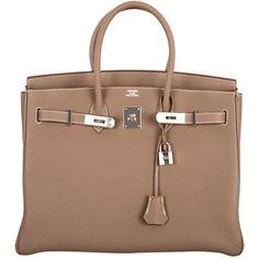 Preowned Hermes Birkin Bag Etoupe 35cm Togo Palladium Janefinds ($21,900) ❤ liked on Polyvore featuring bags, handbags, hermes, purses, сумки, brown, mini handbags, genuine leather purse, leather hand bags and brown purse