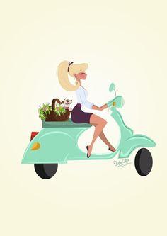 Vespa Girl (love the bike! Vespa is it? Vespa Ape, Vespa Lambretta, Vespa Girl, Scooter Girl, Logo Dulce, Vespa Illustration, Character Art, Character Design, Original Vintage
